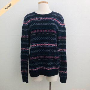 [AEO] Men's Navy Blue Fair Isle Crewneck Sweater